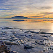 Icy Sunset On Utah Lake Art Print
