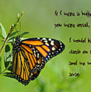 If I Were A Butterfly Art Print by Bill Cannon
