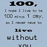 If You Live To Be 100 - Blue Art Print