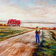 Ile D'orleans Road To The Red Gabled House Quebec Maritime Landscape Art Print