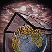 Illustration Of The Greenhouse Effect Art Print