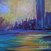 Impressionism-city And Sea Art Print by Soho