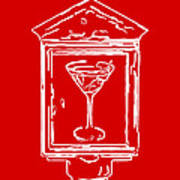 In Case Of Emergency - Drink Martini - Red Art Print by Wingsdomain Art and Photography