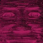 In Your Face In Negative  Hot Pink Art Print