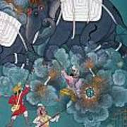 India: Elephant Fight Art Print