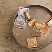 Indian Money In A Dish Art Print