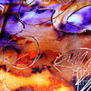 Indigo Brown Orange Yellow And Silver  Art Print