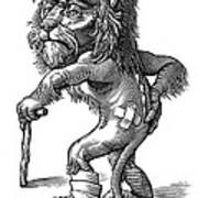 Injured Lion, Conceptual Artwork Art Print