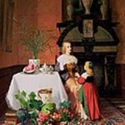 Interior With Figures And Fruit Art Print