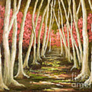 Into The Woods-series With Gold Leaf By Vic Mastis Art Print