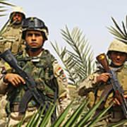 Iraqi Soldiers Conduct A Foot Patrol Art Print