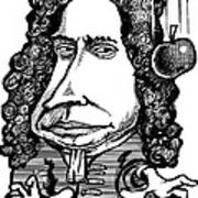Isaac Newton, Caricature Art Print by Gary Brown