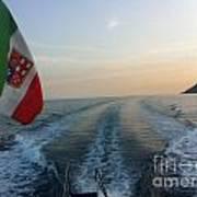 Italian Flag On Boat Off Amalfi Art Print