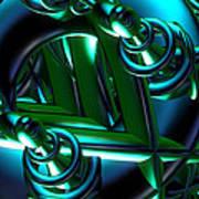Jammer Blue Green Flux 001 Art Print