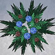 Jammer Blue Red Snow Wreath Art Print