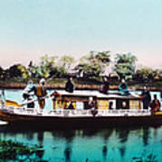 Japan, A Houseboat, Hand Colored Art Print