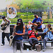 Jazz Band At Jackson Square Art Print by Bill Cannon
