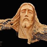 Jesus Christ Wooden Sculpture -  Four Art Print