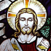 Jesus Close Up Stained Glass Art Print