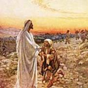 Jesus Withe The One Leper Who Returned To Give Thanks Art Print