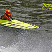 Jetboat In A Race At Grants Pass Boatnik With Text Art Print