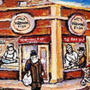 Jewish Montreal Vintage City Scenes Fish Market On Roy Street Art Print
