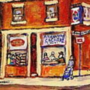 Jewish Montreal Vintage City Scenes Hutchison Street Butcher Shop  Art Print