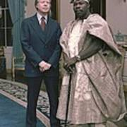 Jimmy Carter With Nigerian Ruler Art Print
