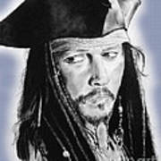 Johnny Depp As Captain Jack Sparrow In Pirates Of The Caribbean II Art Print