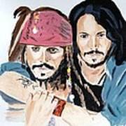 Johnny Depp X 2 Art Print