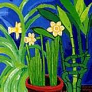 Jonquils And Bamboo Plant Art Print