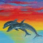 Jumping Dolphins Left Art Print