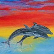 Jumping Dolphins Right Art Print