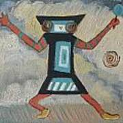 K Is For Kachina Detail From Childhood Quilt Painting Art Print