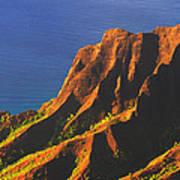 Kalalau Valley Sunset In Kauai Art Print