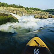 Kayak Noses Its Way Toward A Waterfall Art Print