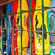 Kayaks In A Cage Art Print