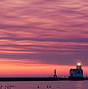 Kewaunee Lighthouse At Sunrise Art Print