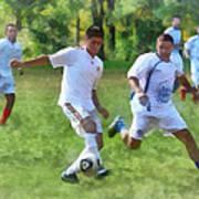 Kicking Soccer Ball Art Print