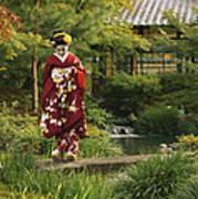 Kimono-clad Geisha In A Park Art Print by Justin Guariglia