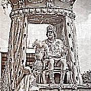 King Of Rex - Painted Bw Art Print