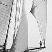 king of the world - a classic sailboat with all sails plying the sea on the island of Menorca Art Print