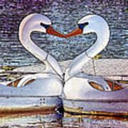 Kissing Swans Art Print