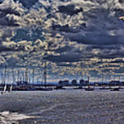 Kite Surfing At St Kilda Beach Art Print