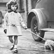 Kitten On Lead Print by Fox Photos