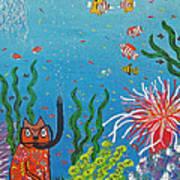 Kittyboy Goes Snorkeling Art Print