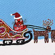 Kityboy Helps Santa Art Print