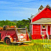 Klamath Old Fire Truck And Red School House Art Print by Gregory Dyer
