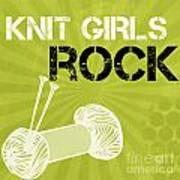 Knit Girls Rock Art Print by Linda Woods