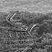 Knobels Wooden Roller Coaster Black And White Art Print
